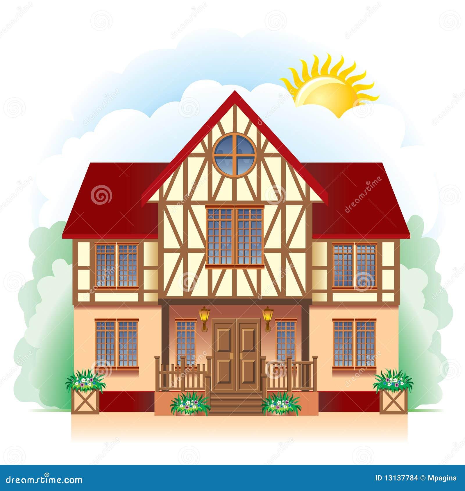 Casa De Campo Desenho Detalhado Imagens De Stock