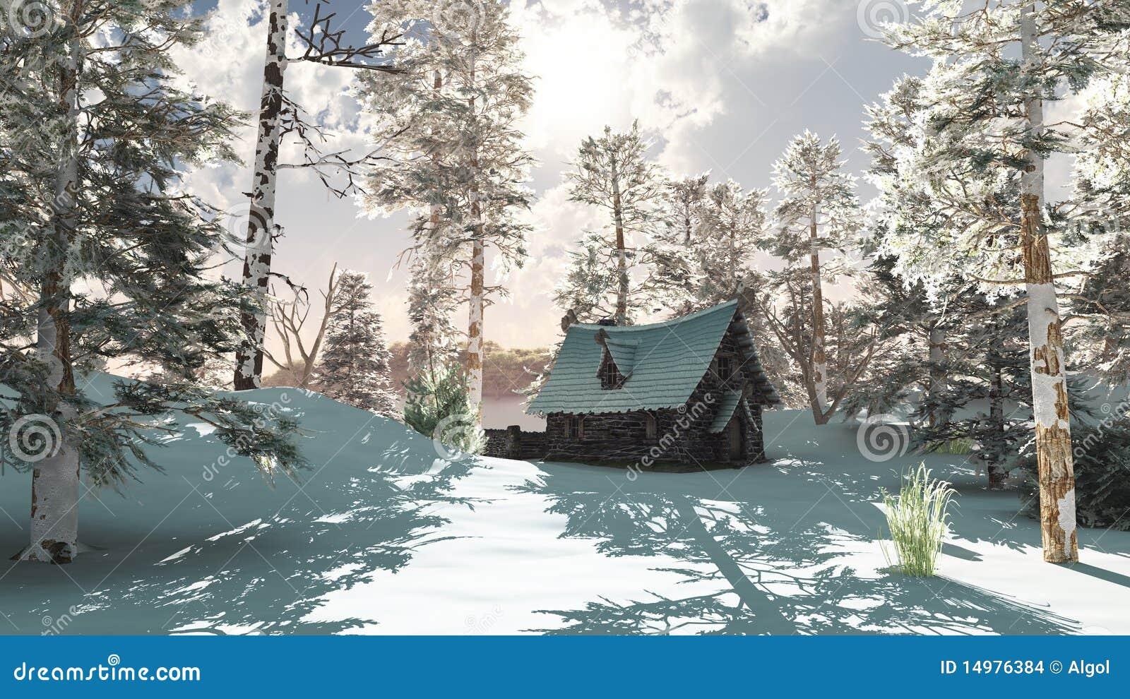Casa de campo do norte do inverno na neve