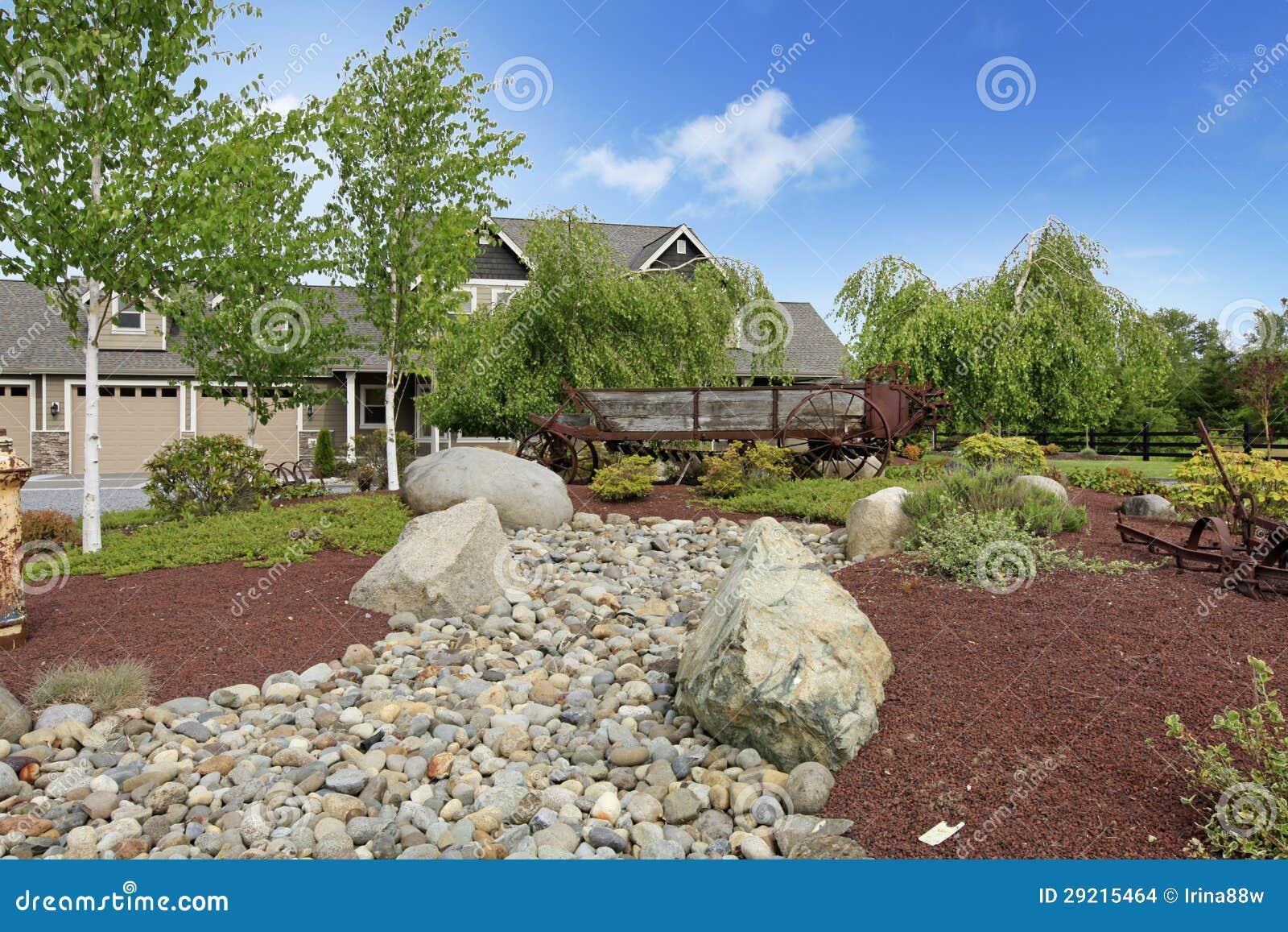Casa de campo grande de la granja con paisaje hermoso de - Paisajes de casas de campo ...