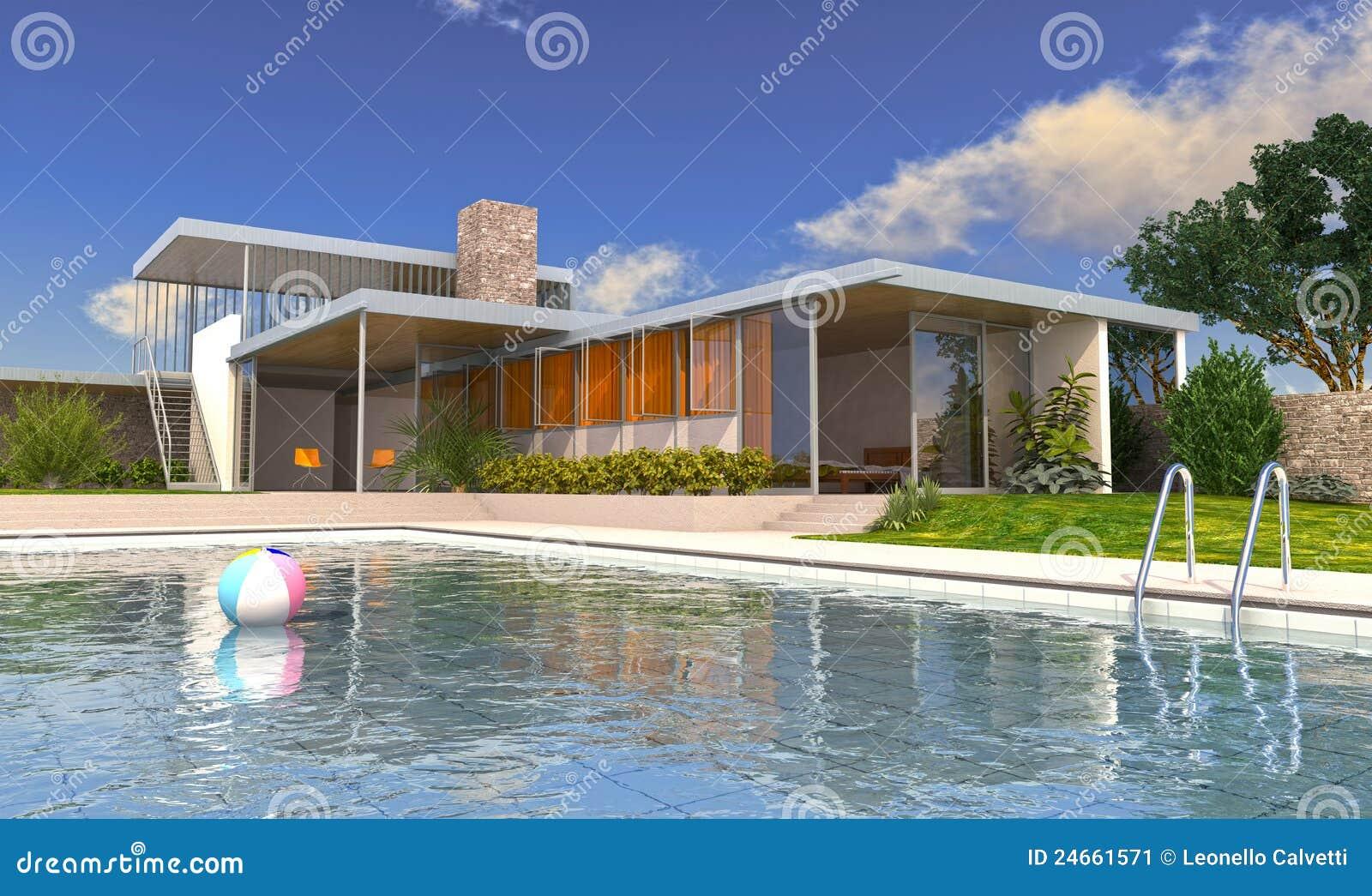 Casa de campo luxuosa moderna com piscina imagem de stock for Casa moderna