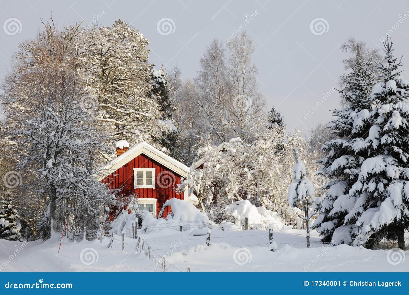 casa de campo vermelha e paisagem do inverno imagem de