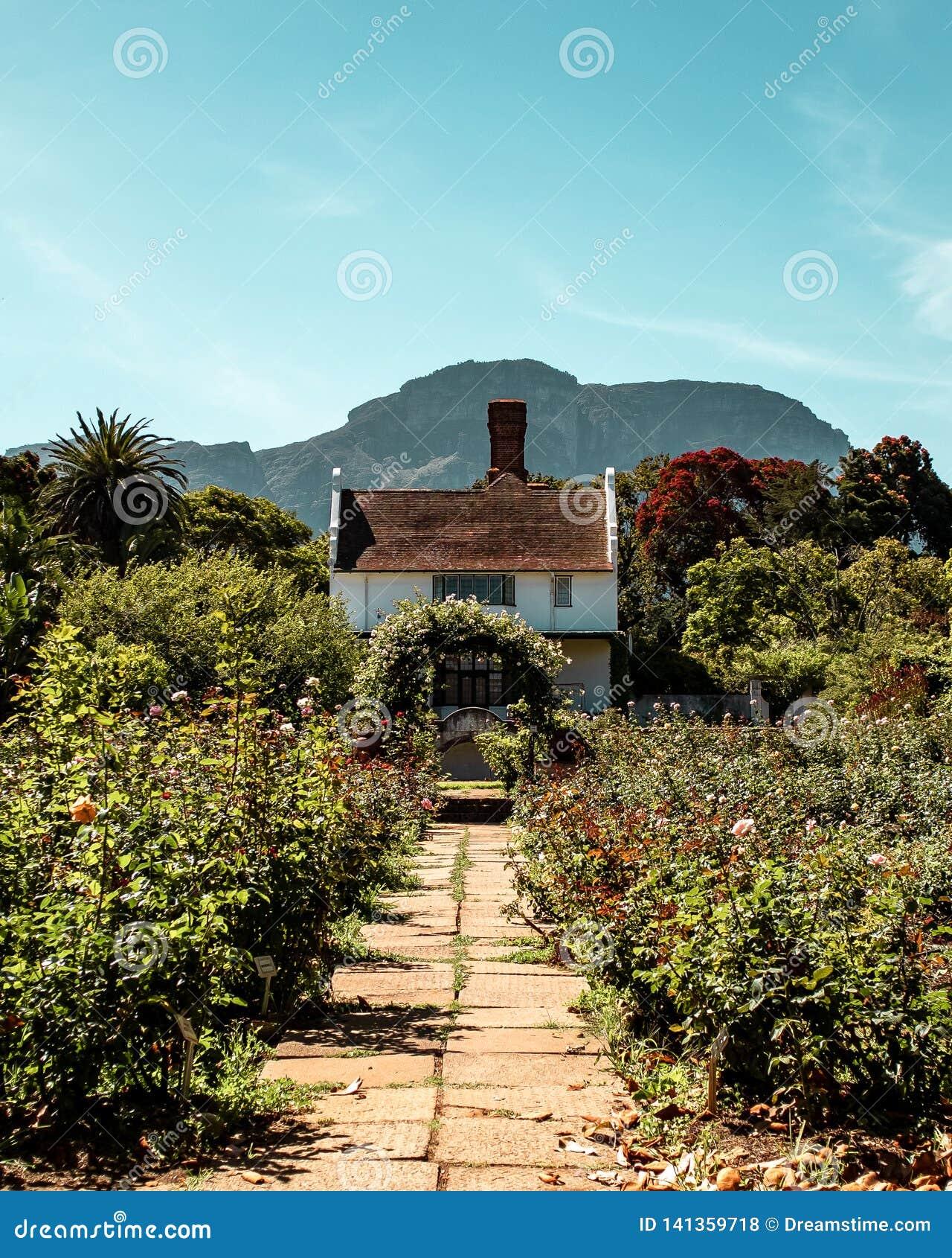 Casa de campo vitoriano do estilo com o arco no jardim de rosas