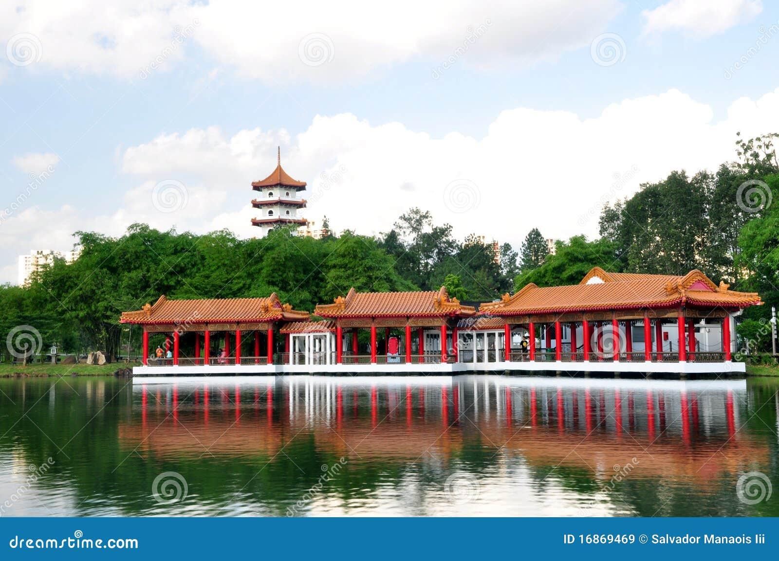 Casa de chá, jardim chinês