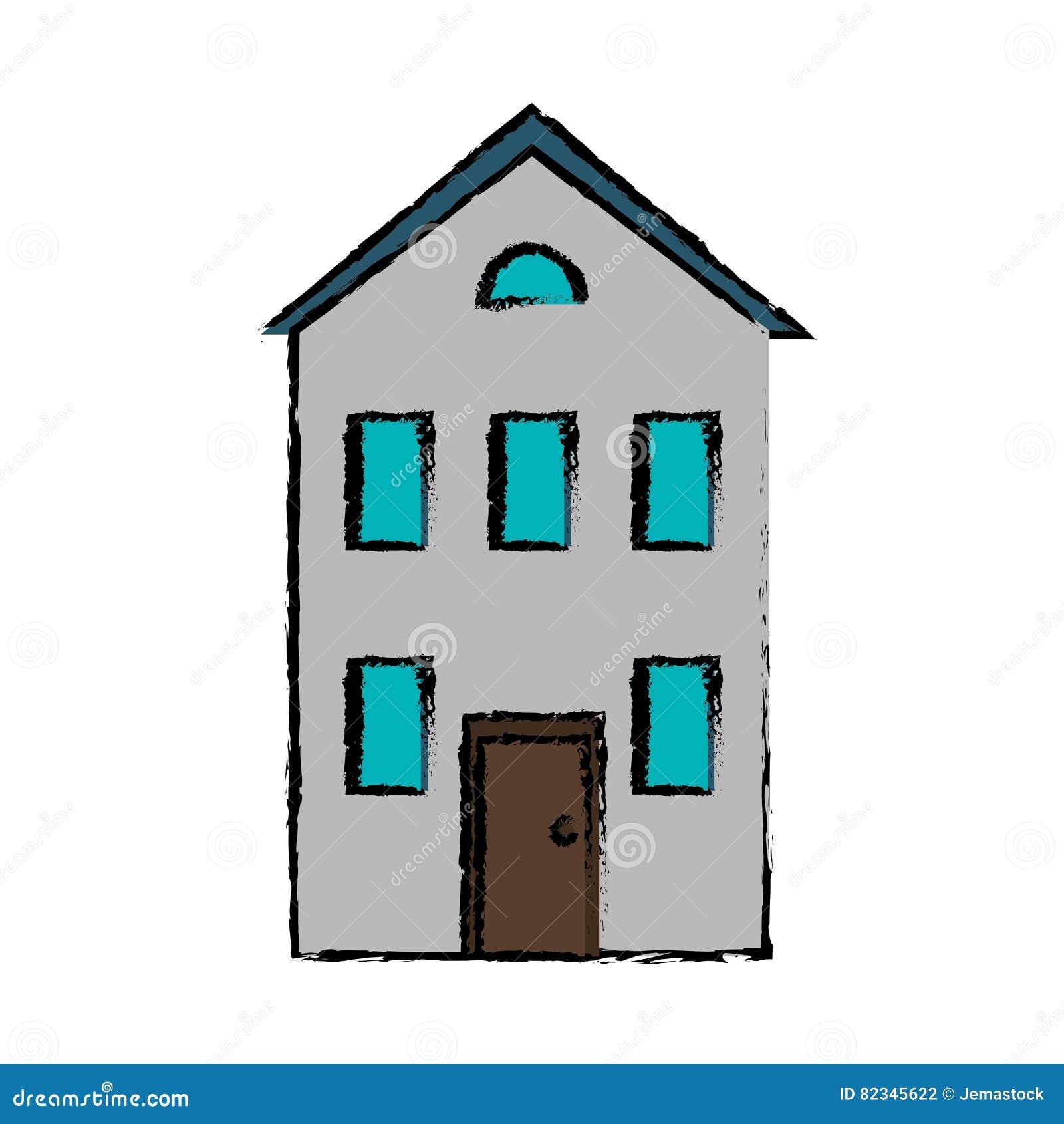casa de dibujo de los bienes inmuebles de dos pisos ilustración ... - Bienes Inmuebles Dibujos