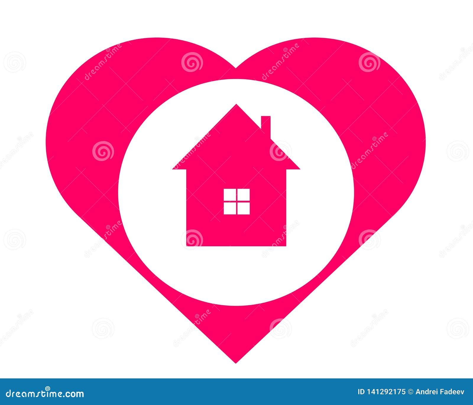 Casa de dibujo del logotipo en el corazón