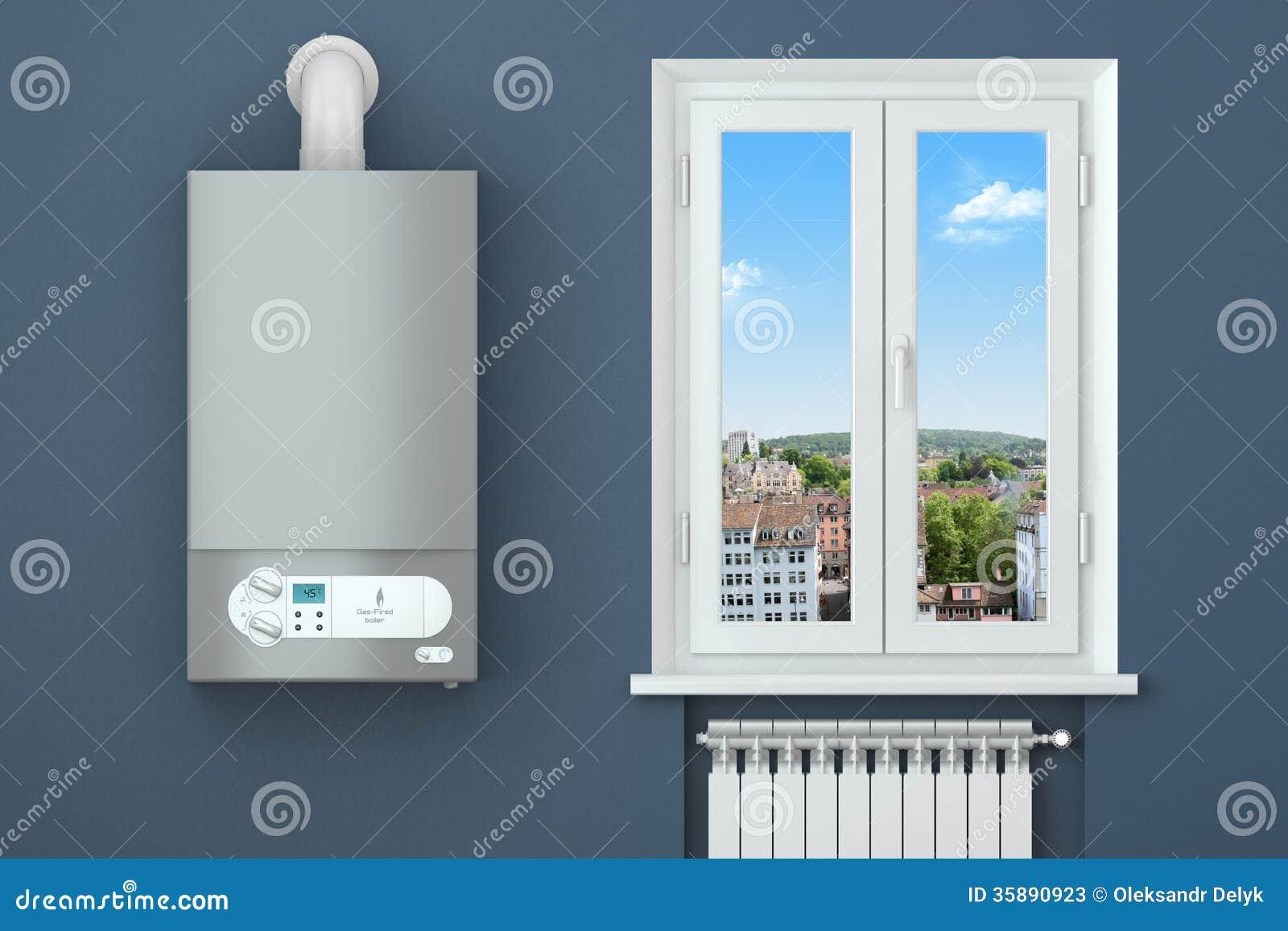 Casa de la calefacción. Caldera de gas, ventana, radiador de calefacción.