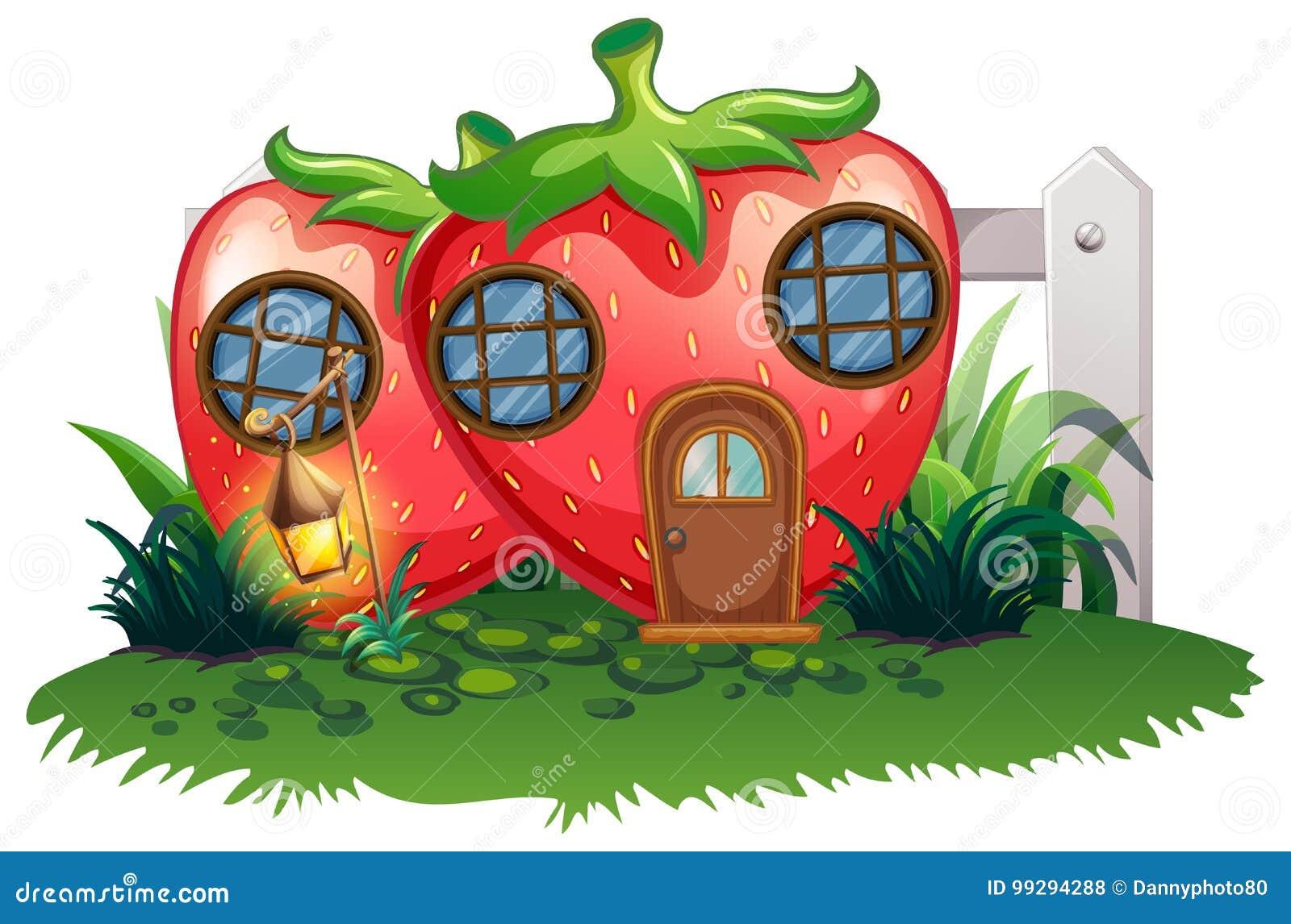 Casa de la fresa en jardín