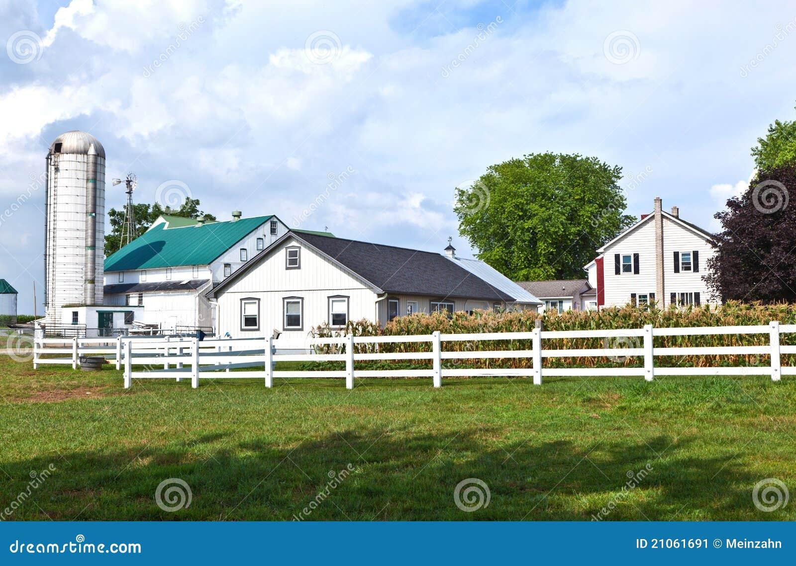 Casa de la granja con el campo y el silo