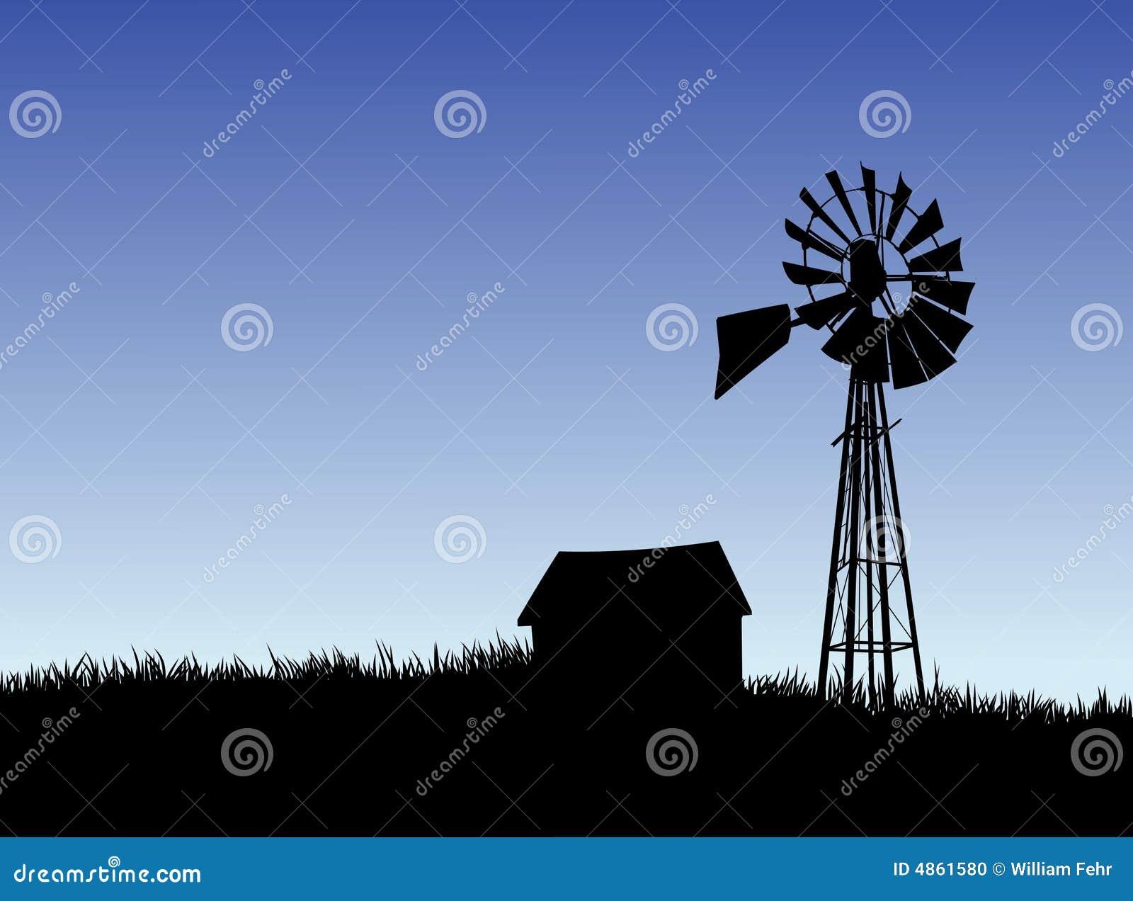 Casa de la granja y silueta del molino de viento