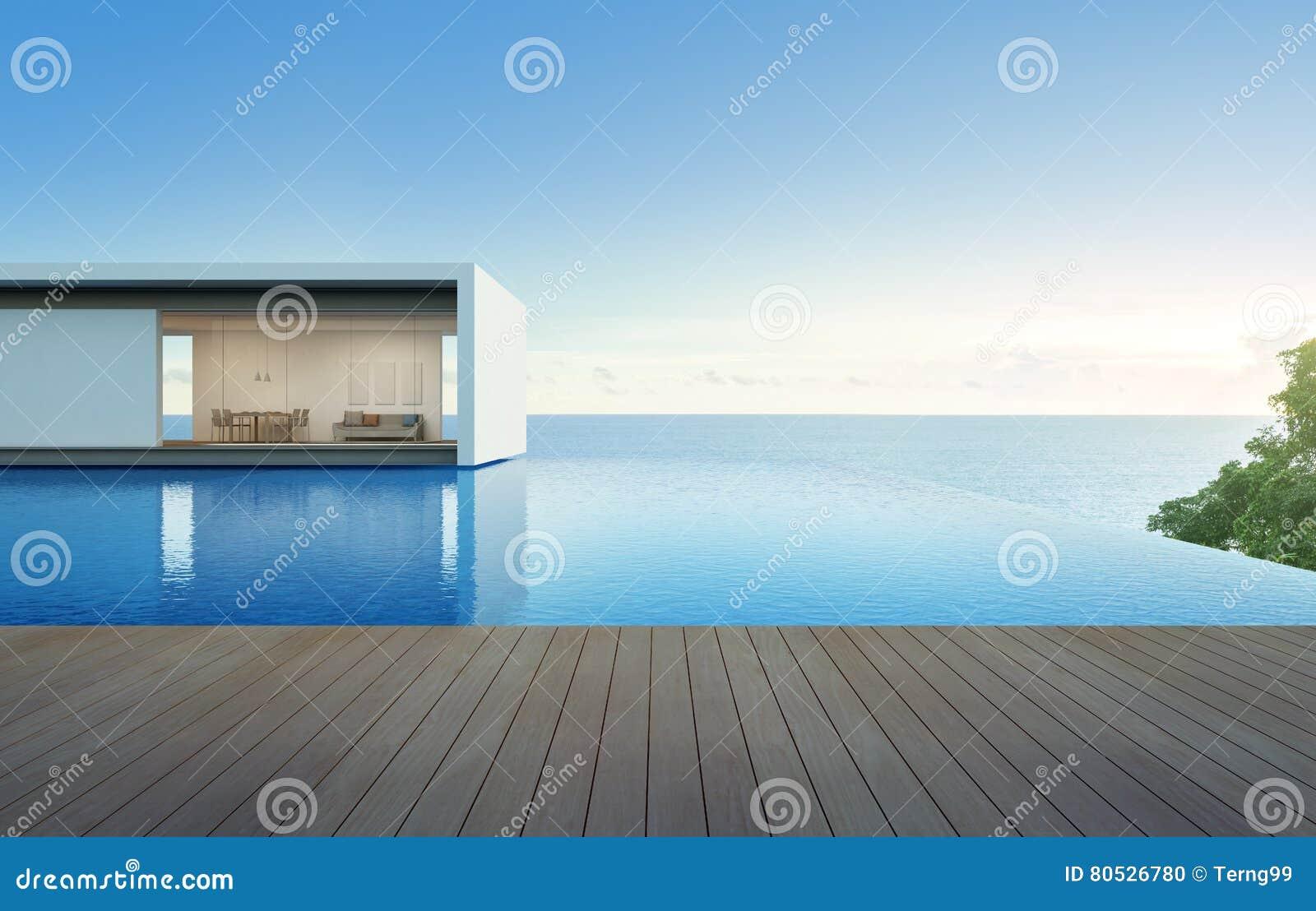 Casa De La Opinión Del Mar Con La Piscina Y La Terraza