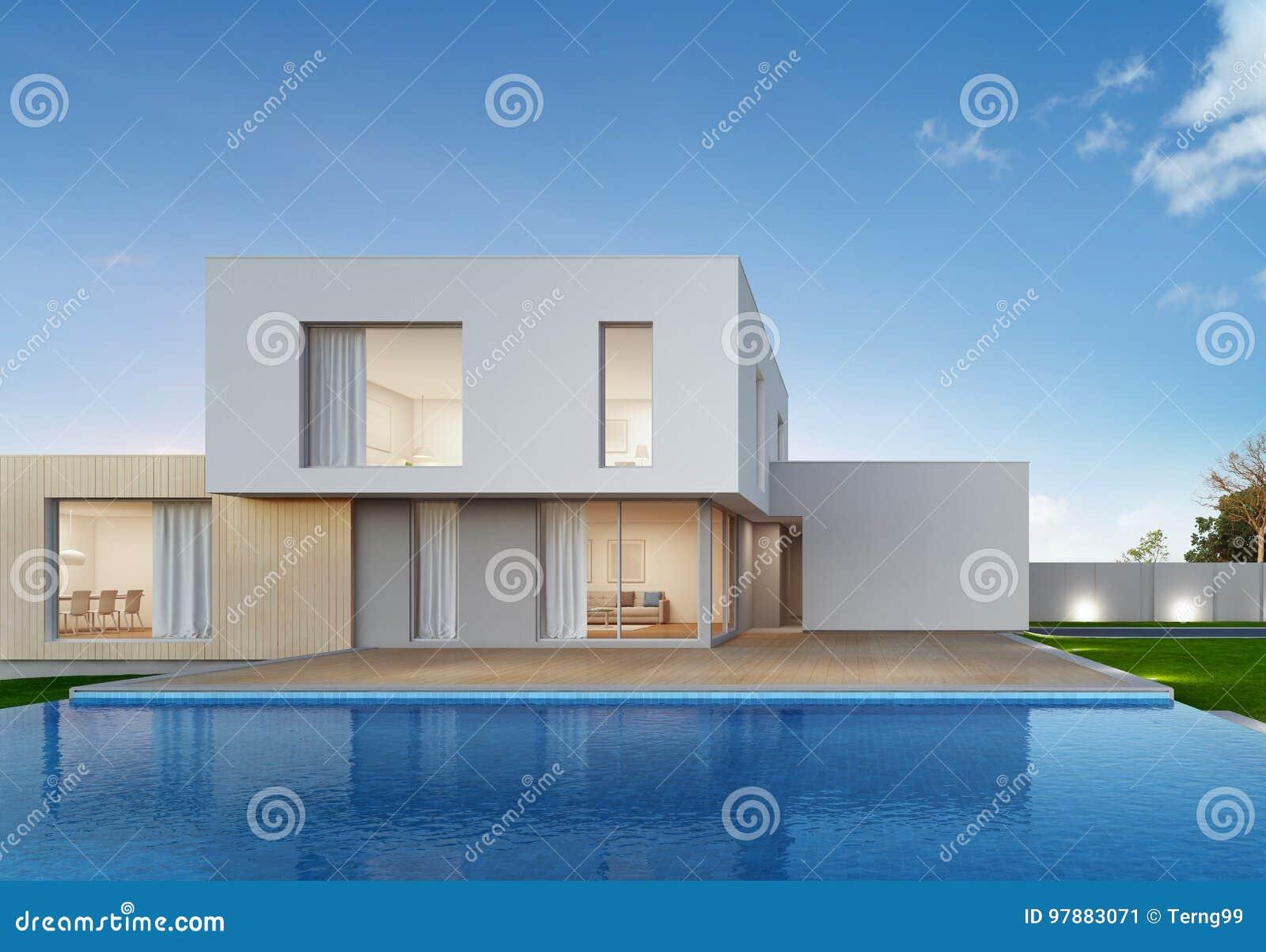 Casa De Lujo Con La Piscina Y Terraza En El Diseño Moderno