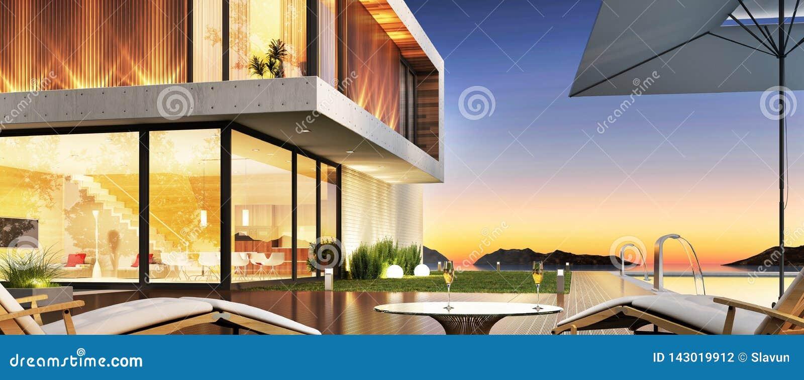 Casa De Lujo Con La Piscina Y Terraza Para Relajarse Stock