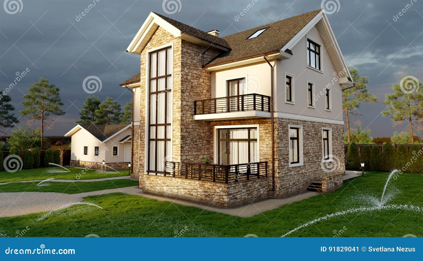 Casa de lujo de la familia con ajardinar