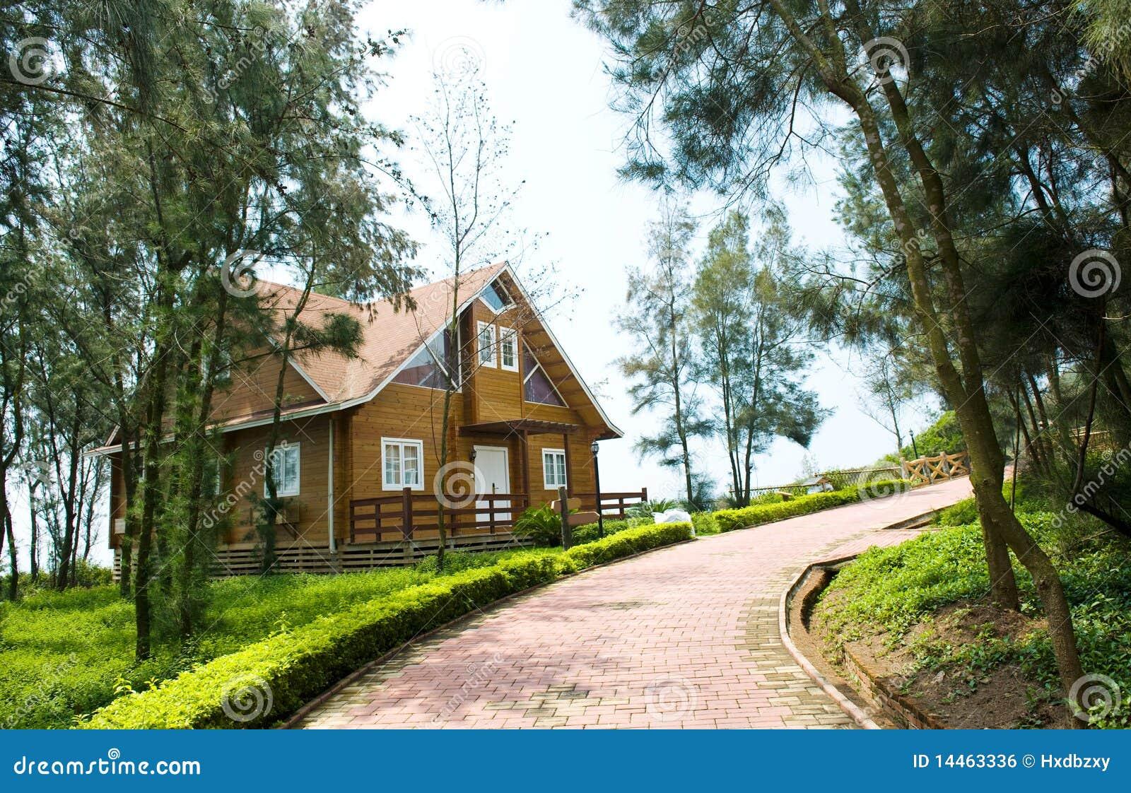 Casa de madeira ao lado da pista