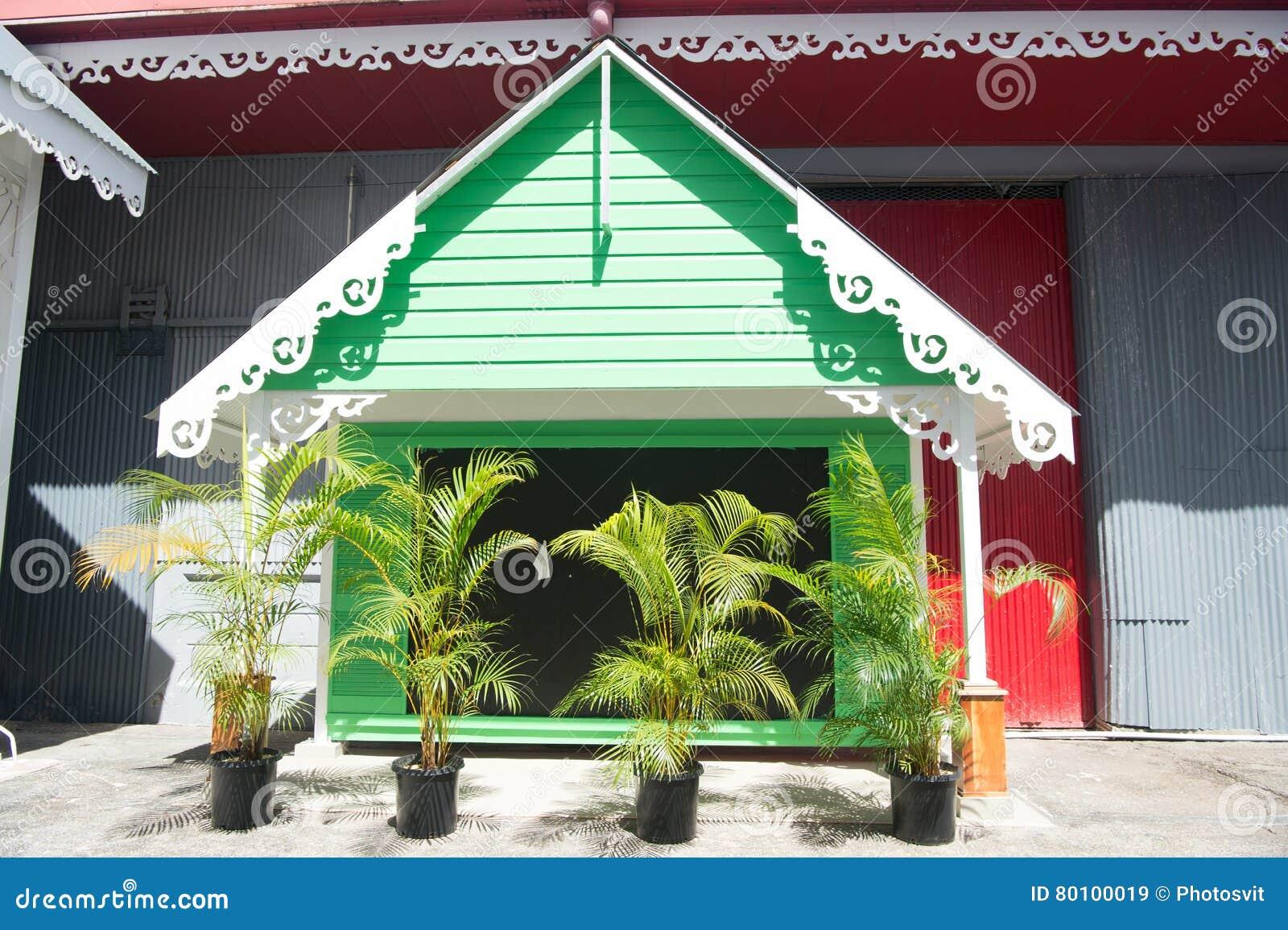 Casa de madeira com plantas da palma