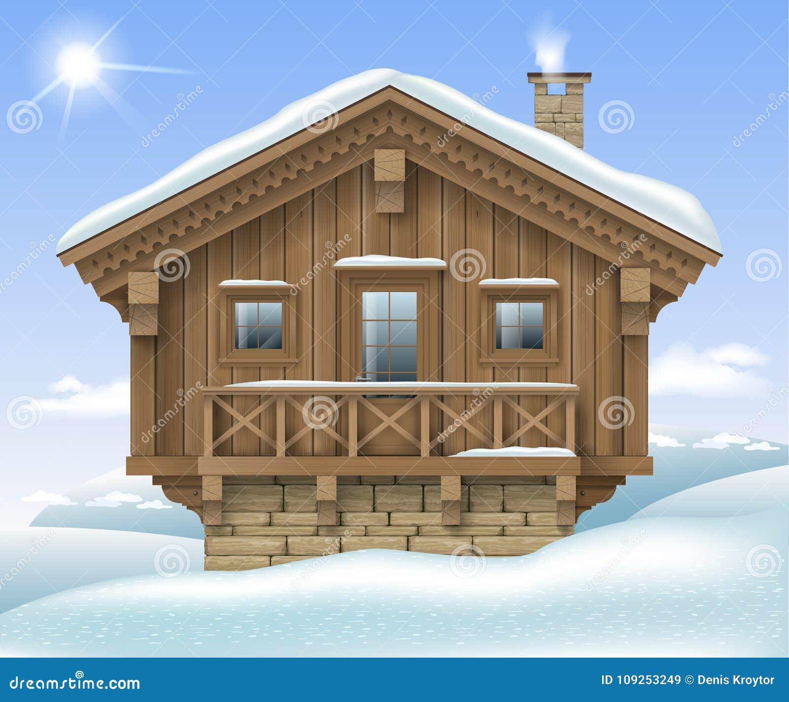 Casa de madeira nas montanhas do inverno