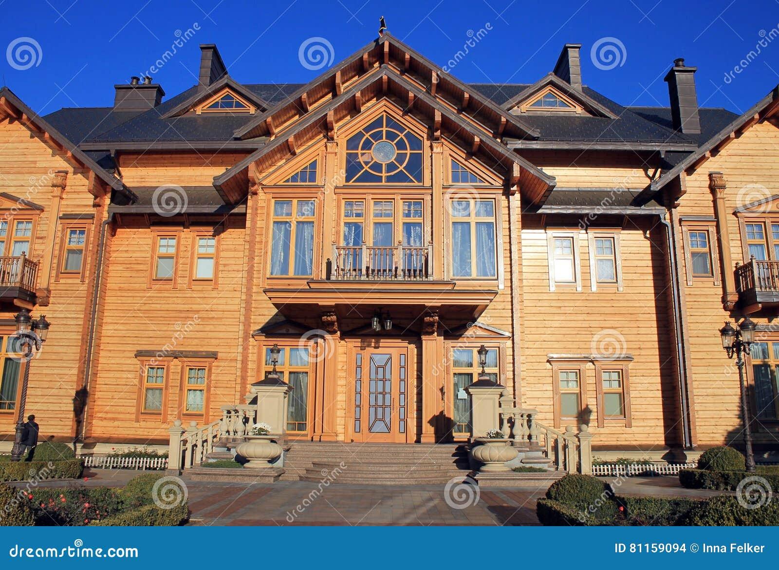 Casa De Madera De Honka En Mezhyhirya Region De Kyiv Ucrania