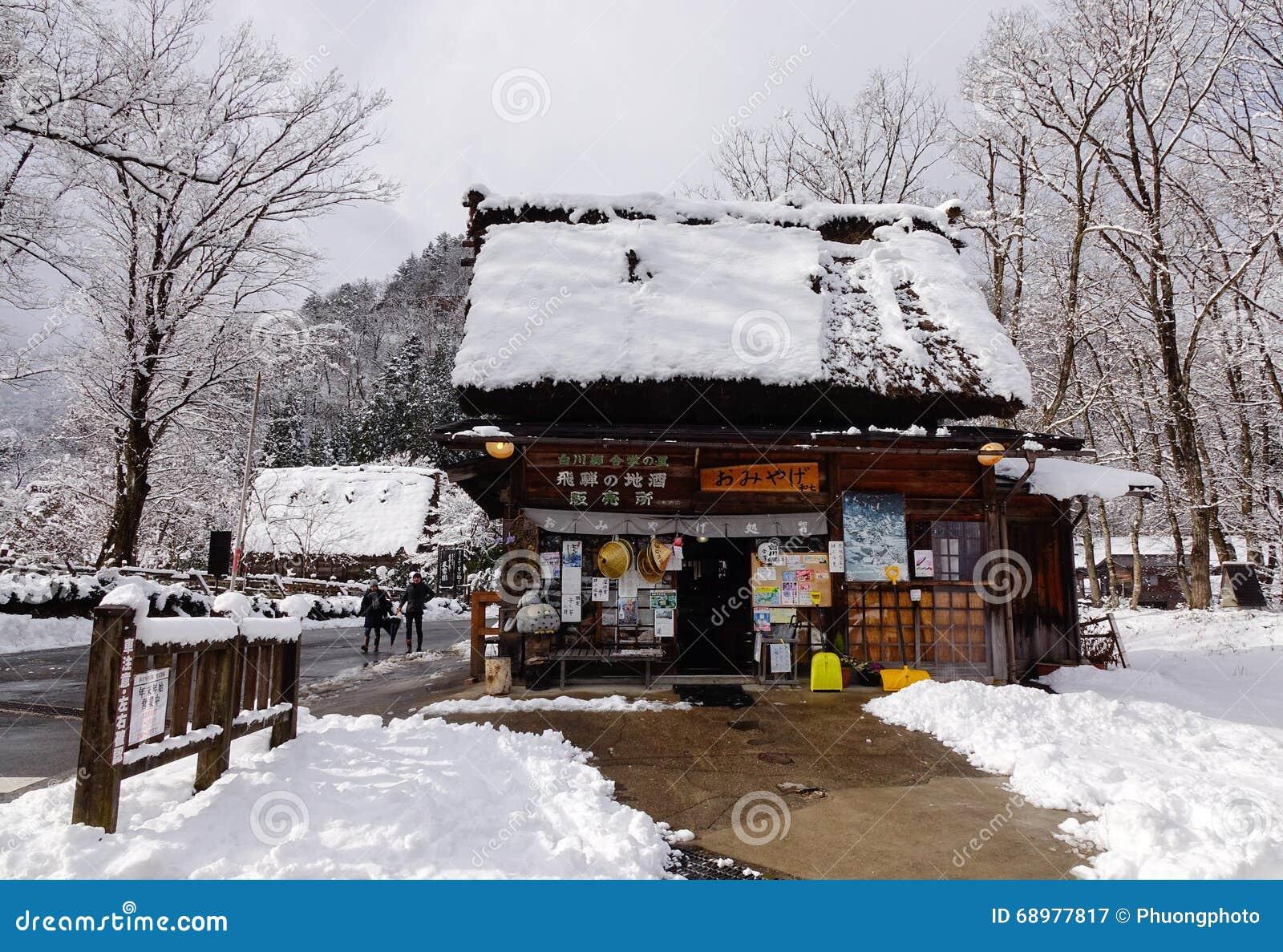 Casa de madera en el invierno