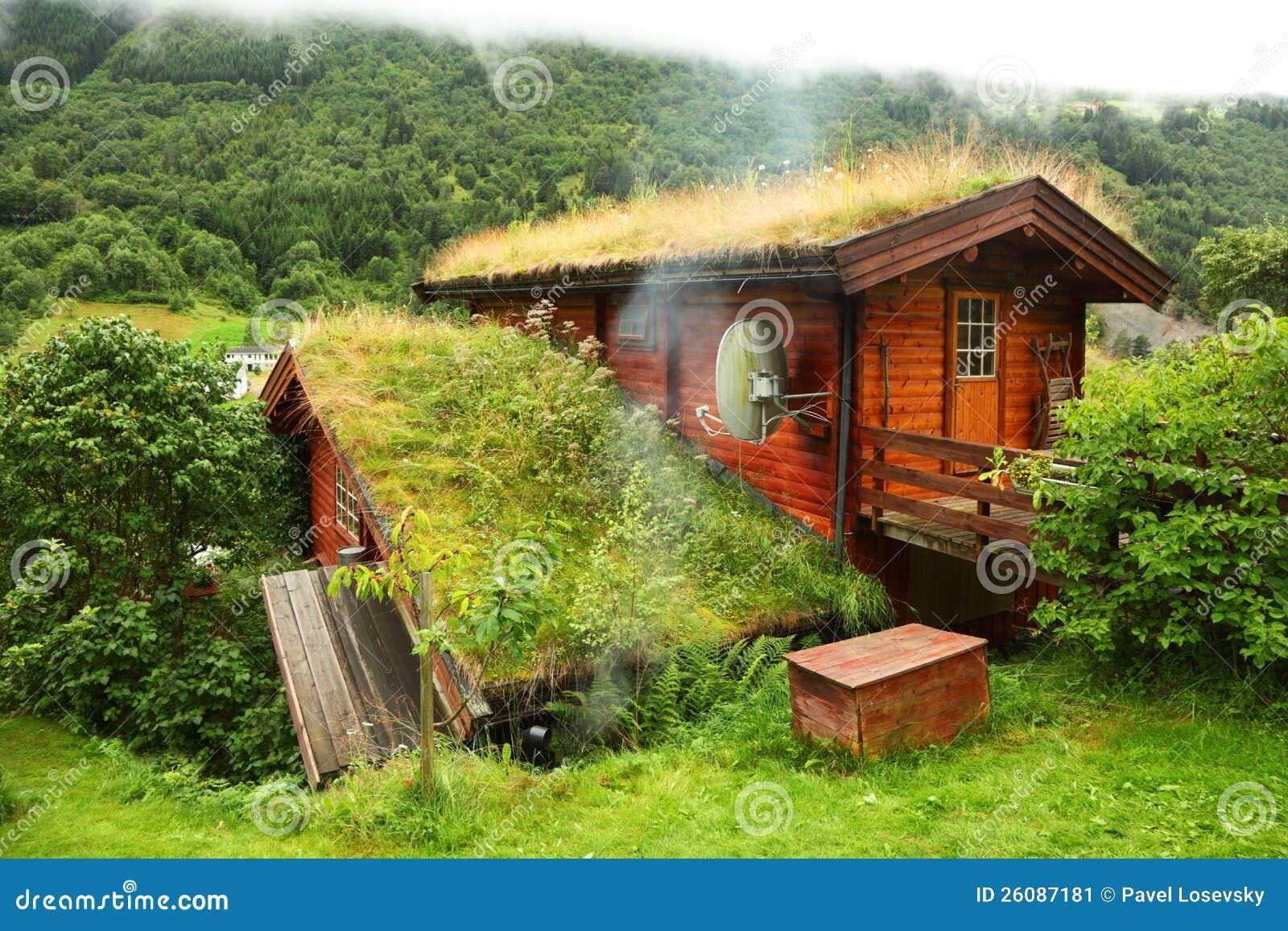 Casa de madera noruega en la colina foto editorial for Casas en noruega