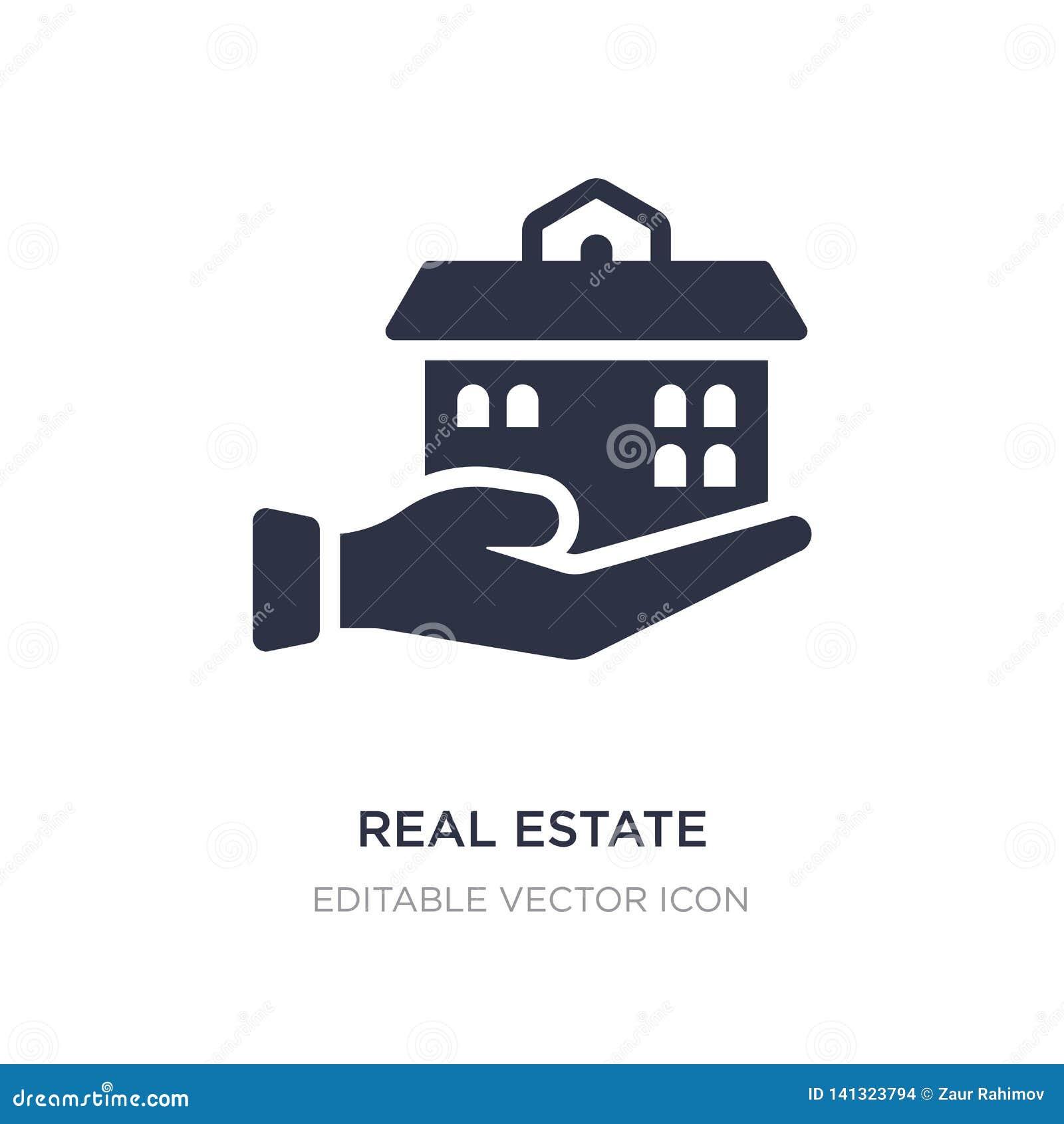 Casa de negocio de las propiedades inmobiliarias en un icono de la mano en el fondo blanco Ejemplo simple del elemento del concep