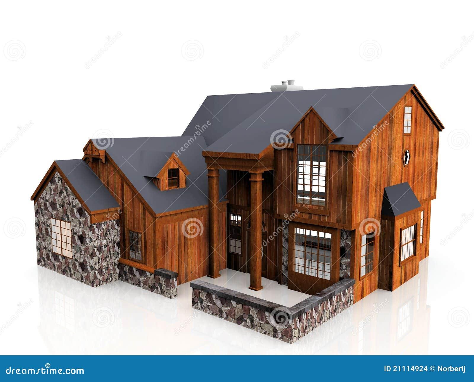 Casa de piedra y de madera imagenes de archivo imagen for Casas de piedra y madera