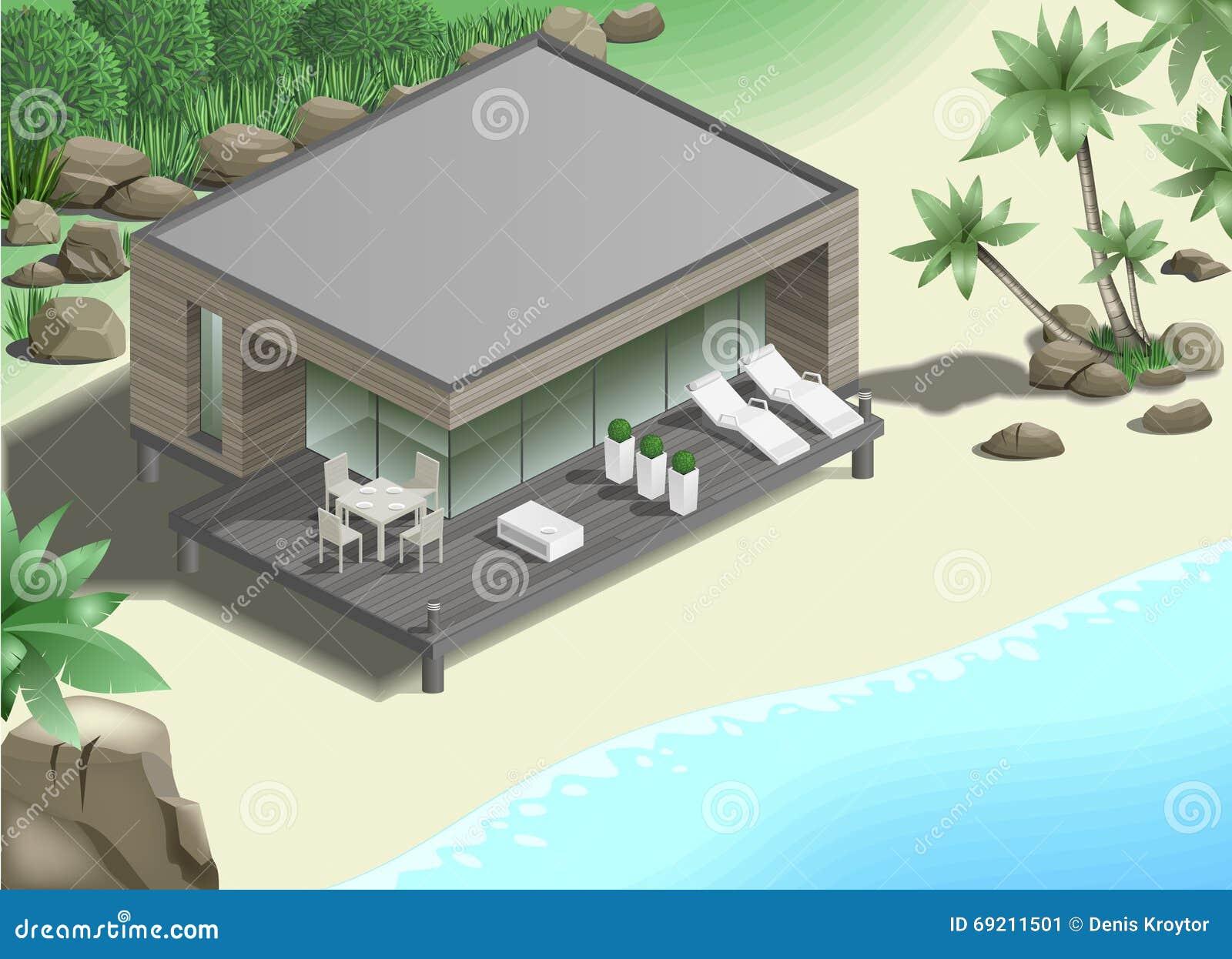 Casa de planta baja moderna en la costa stock de for Casa moderna planta baja