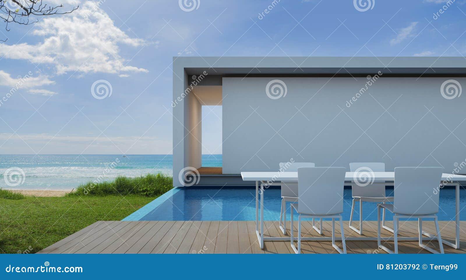 Casa De Playa En Diseño Moderno, Chalet De Lujo De La Piscina De ...