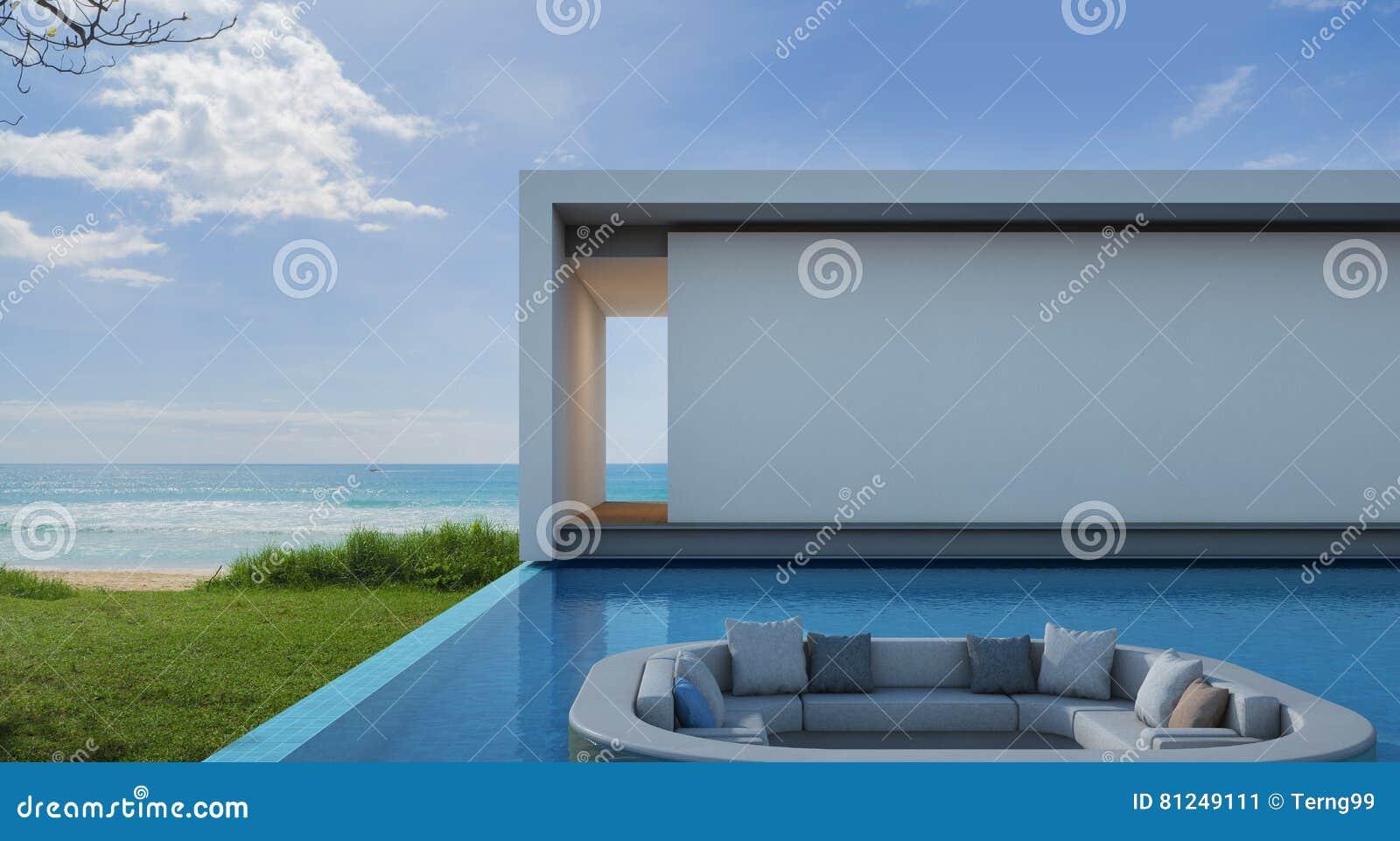 casa de playa en diseño moderno, chalet de lujo de la piscina de