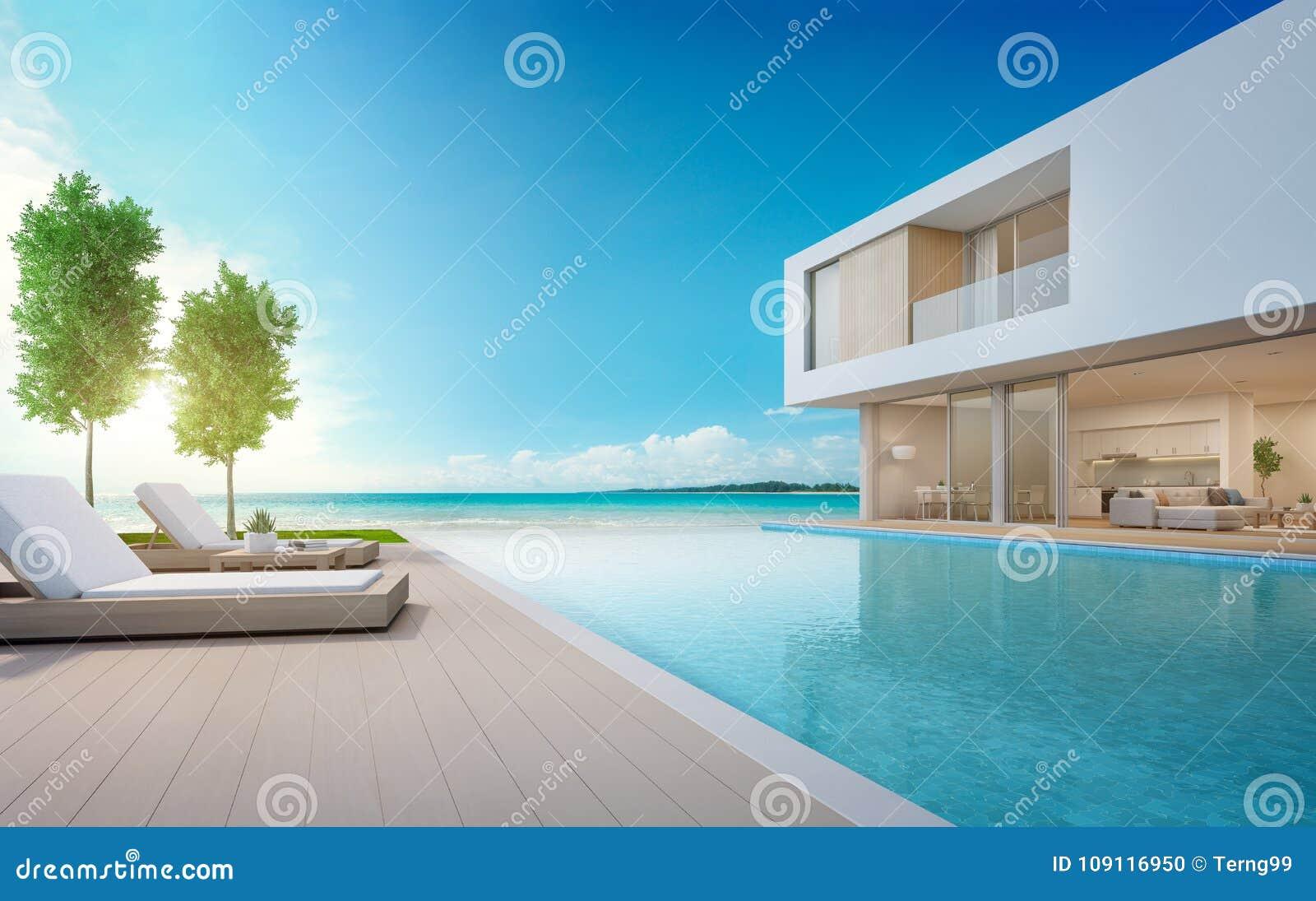 Casa De Playa De Lujo Con La Piscina De La Opinión Del Mar Y