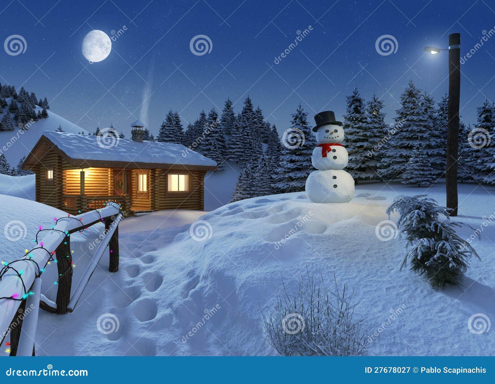 Casa de registro em uma cena do Natal do inverno