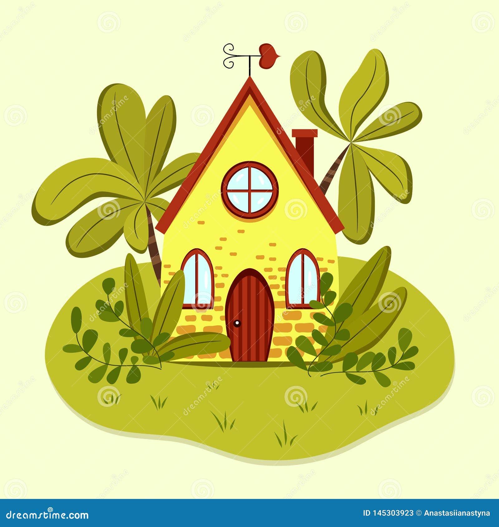 Casa de verano amarilla linda con la paleta de viento en forma de corazón
