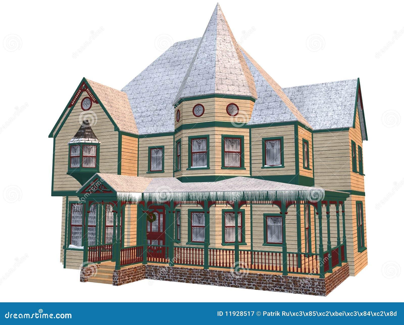 Casa del invierno del Victorian