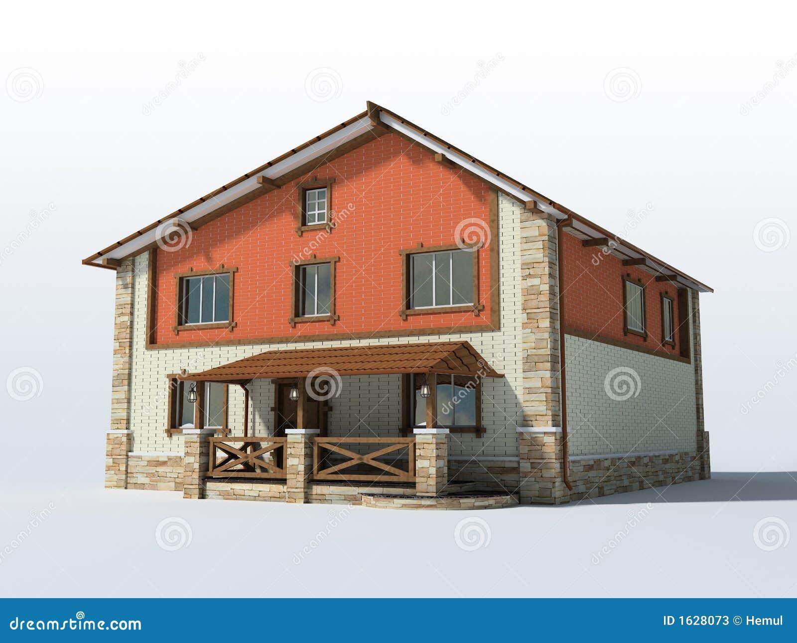 Casa Del Ladrillo Aislada En El Fondo Blanco Fotos De