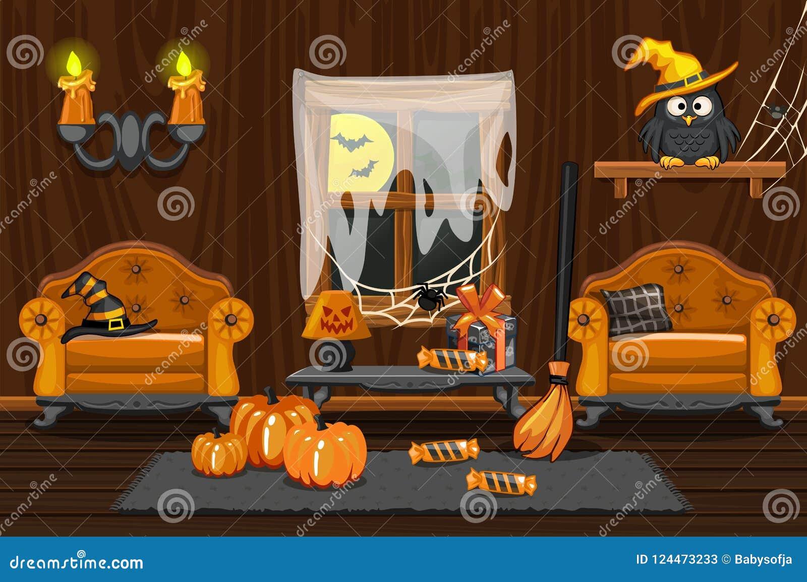 Casa del sótano, sitio de madera interior del ejemplo con los símbolos de Halloween y muebles