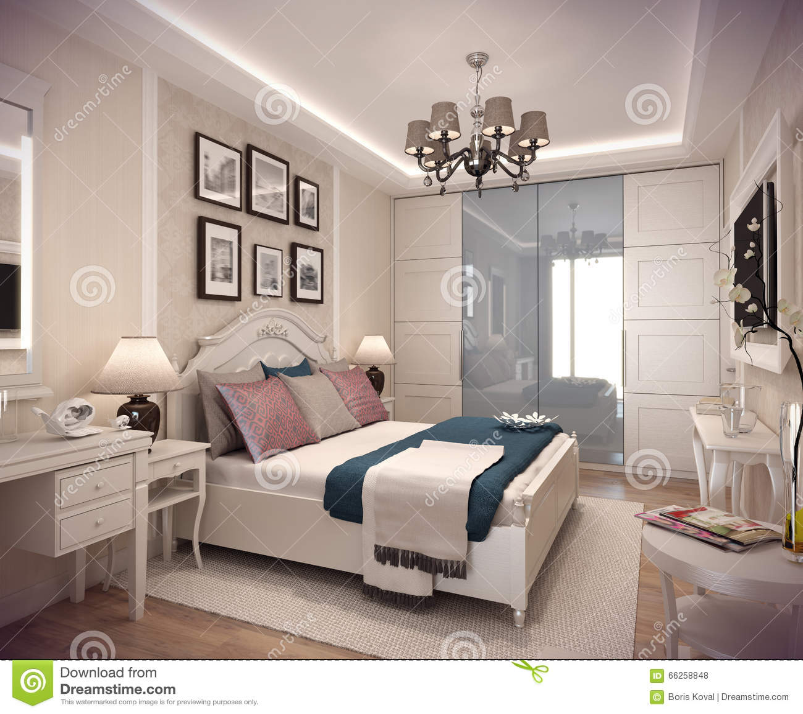 Casa della camera da letto della rappresentazione 3d nella for Piani della camera da letto divisi