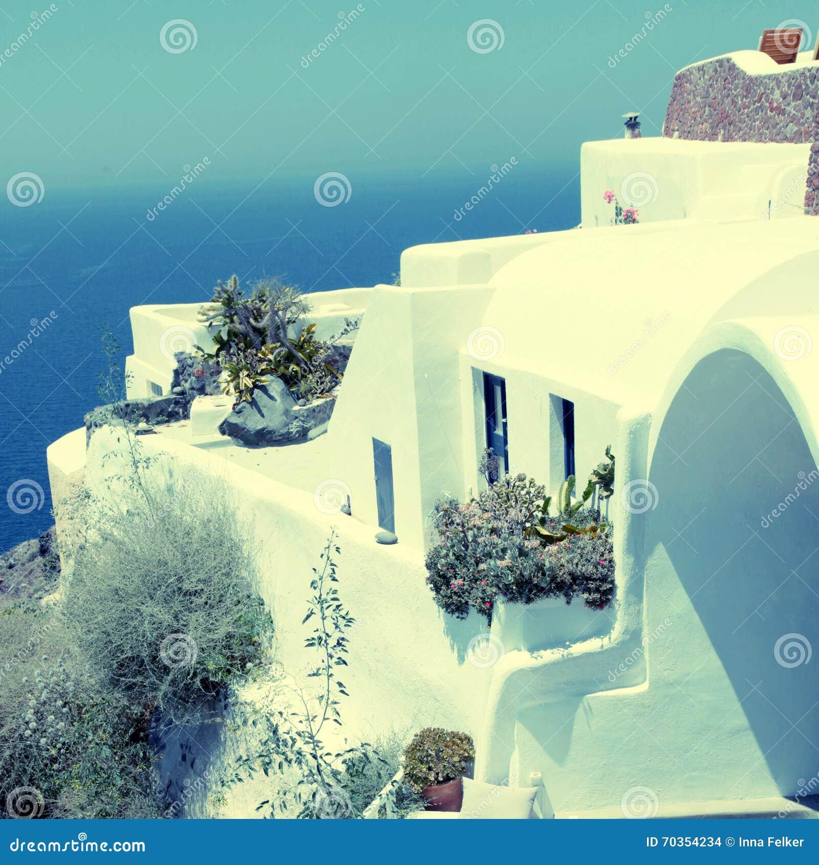 Casa Della Località Di Soggiorno E Mar Egeo Greci Bianchi, Santorini ...
