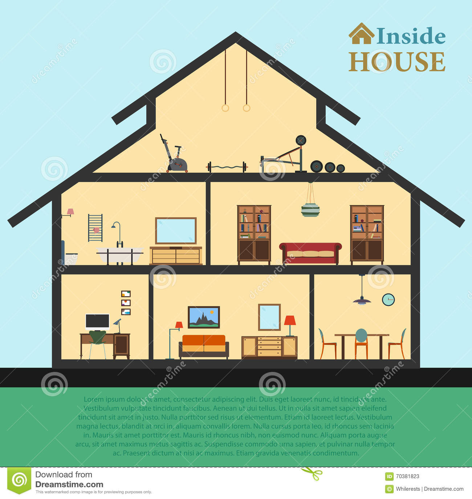 Casa detallada en corte diversos interiores modernos de - Casa home muebles ...