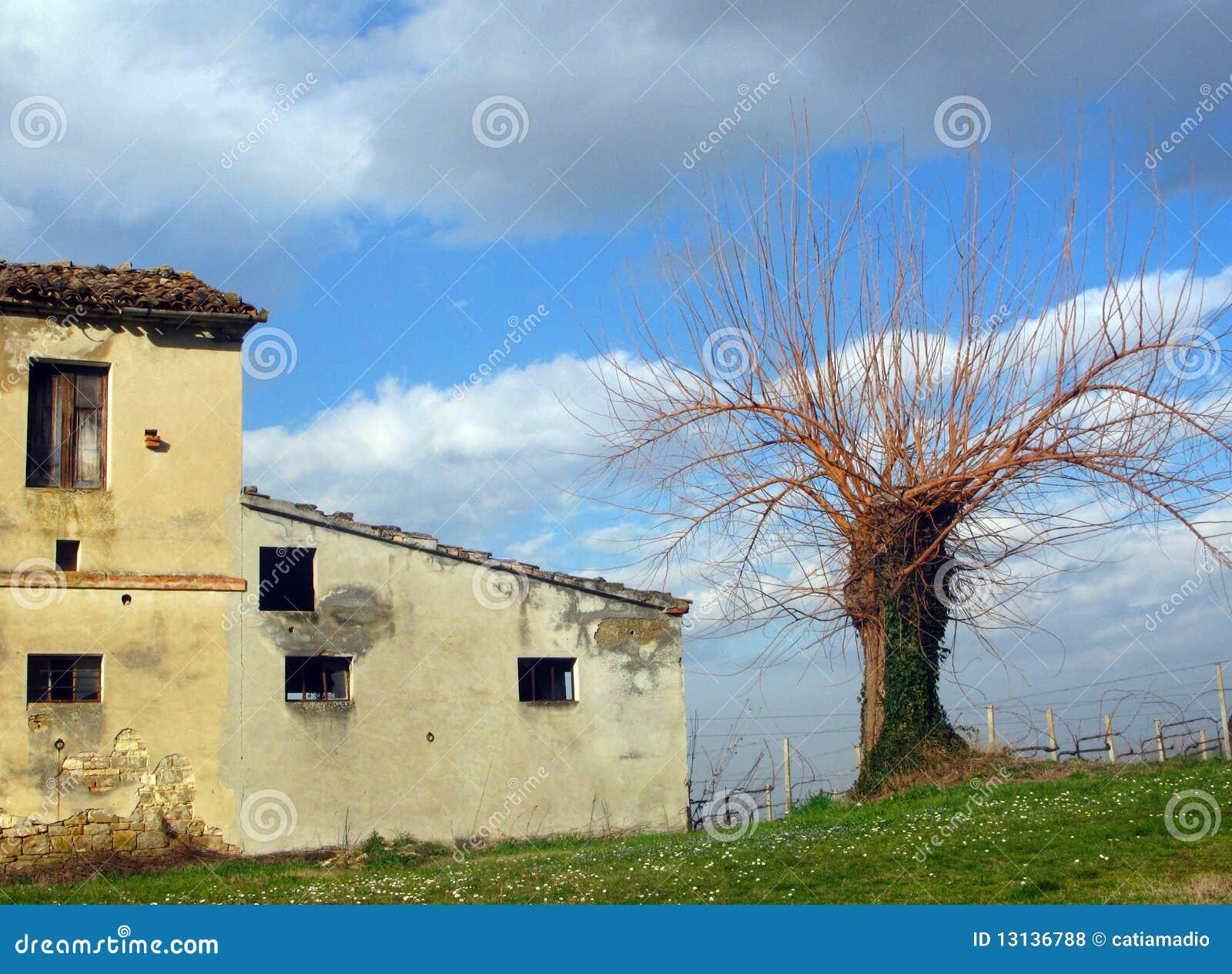Casa di campagna abbandonata fotografia stock immagine for Piani di casa bassa architettura del paese
