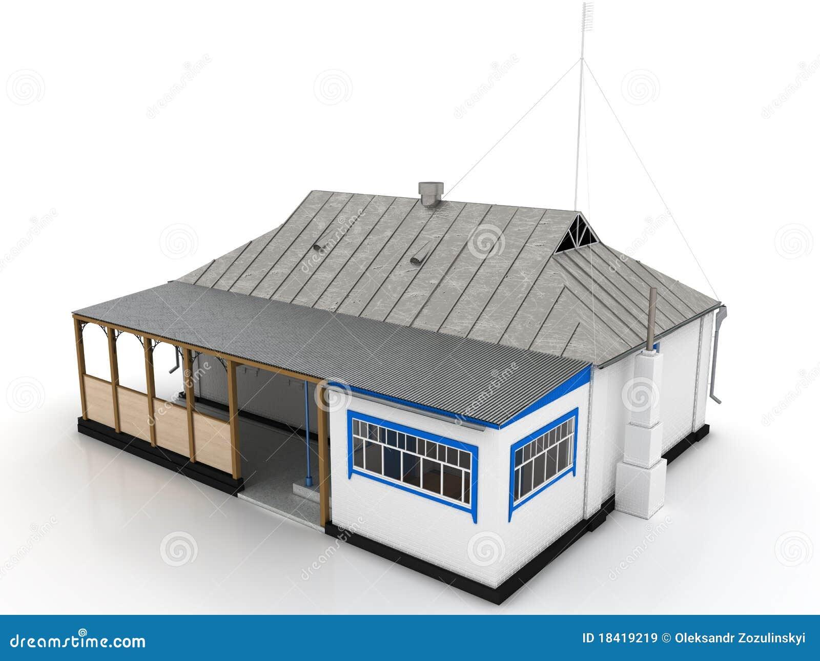 Casa di campagna con un tetto dello stagno e una veranda for Piani di casa di campagna con veranda