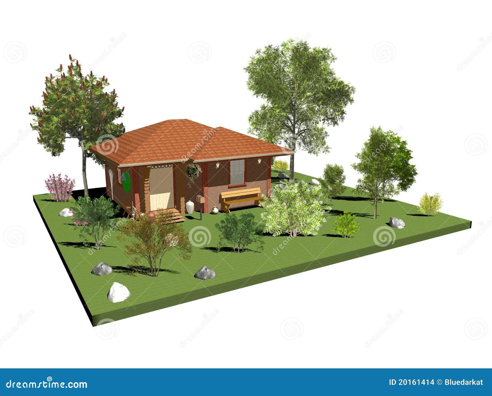 Casa di campagna di legno con il giardino e gli alberi for Foto case con giardino
