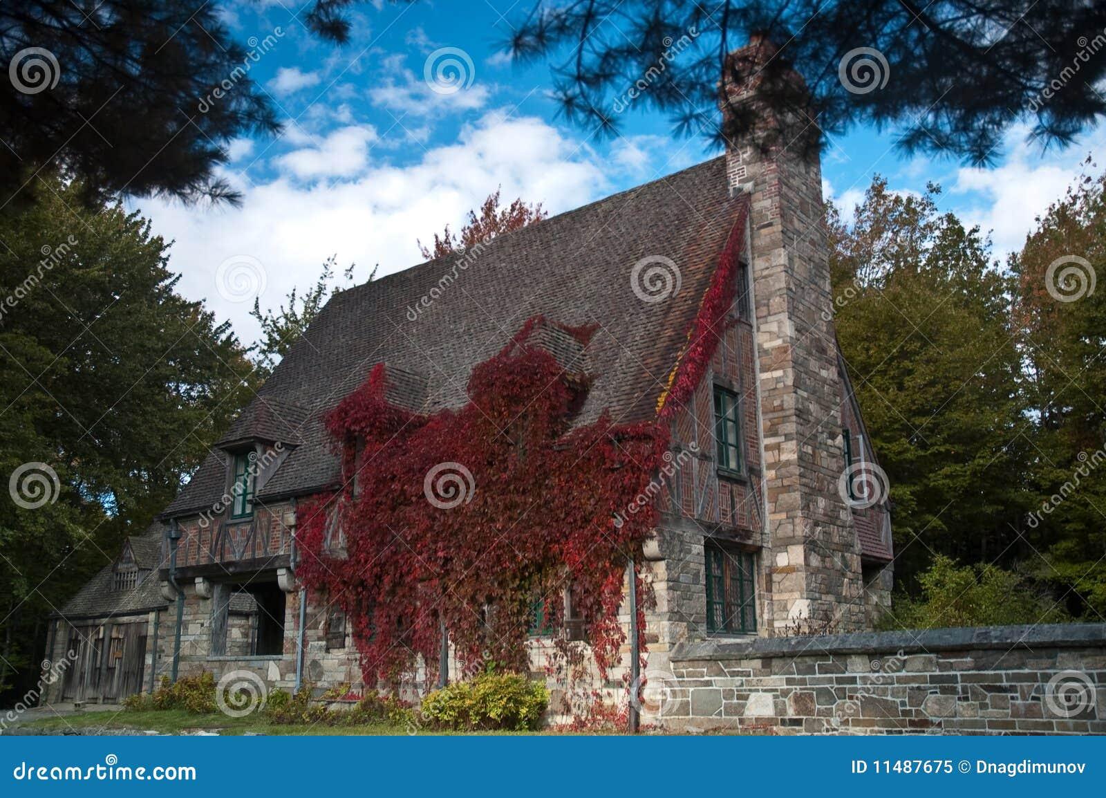 Casa di campagna inglese di pietra in edera immagine stock for Case ricoperte di edera