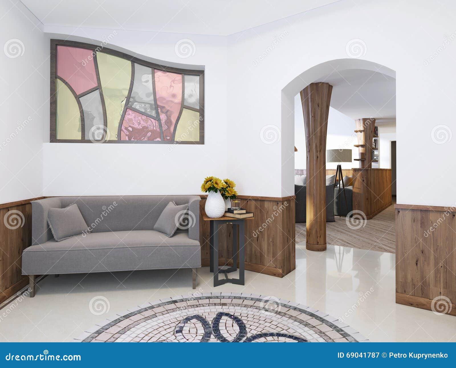 Casa di corridoio in uno stile del sottotetto con un soffitto alto