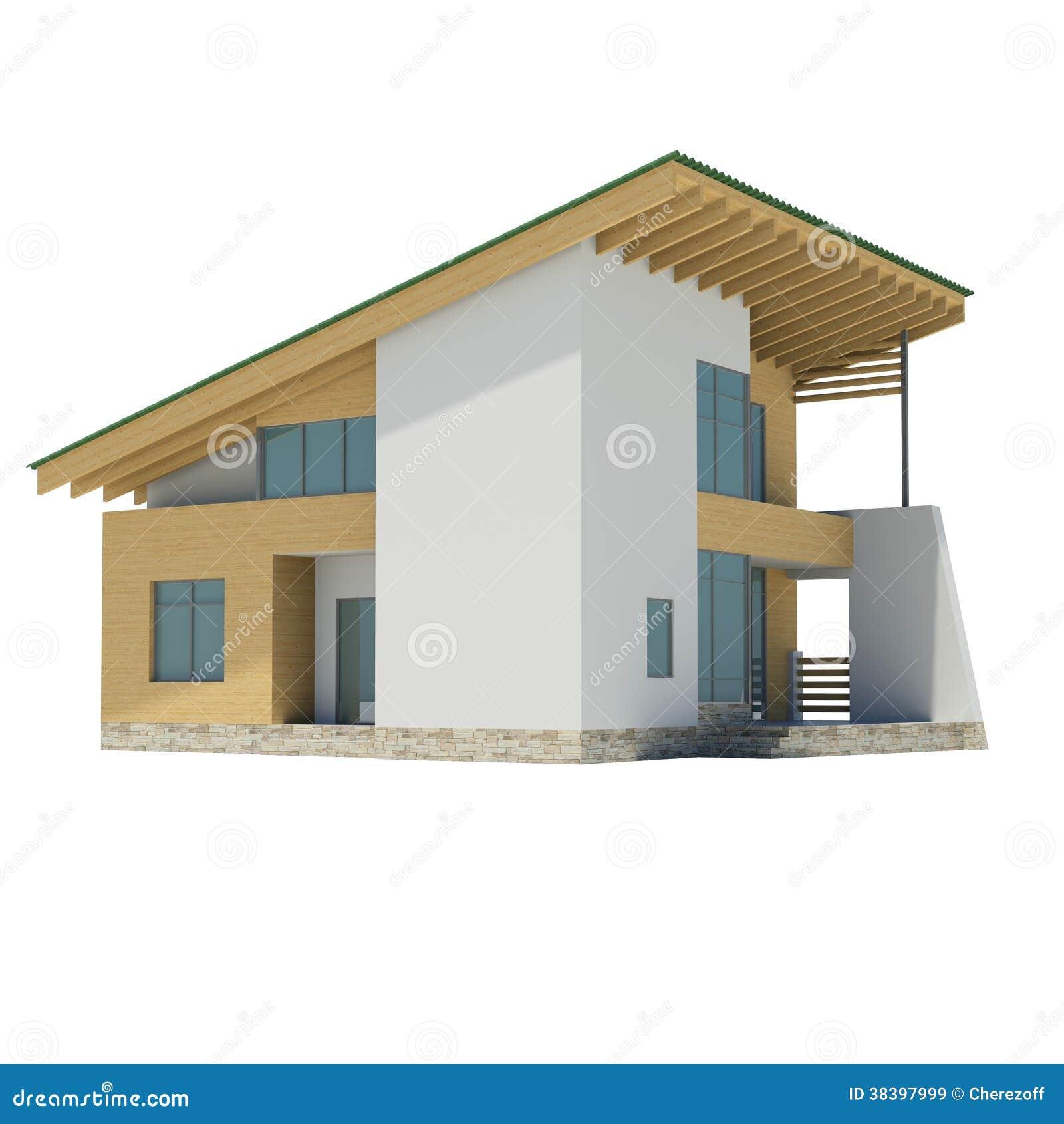 Casa di legno con un tetto verde immagini stock libere da - Casa con tetto in legno ...