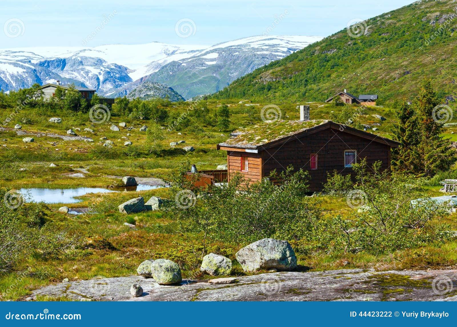 Casa di legno in montagna di estate norvegia fotografia for Planimetrie della casa di montagna