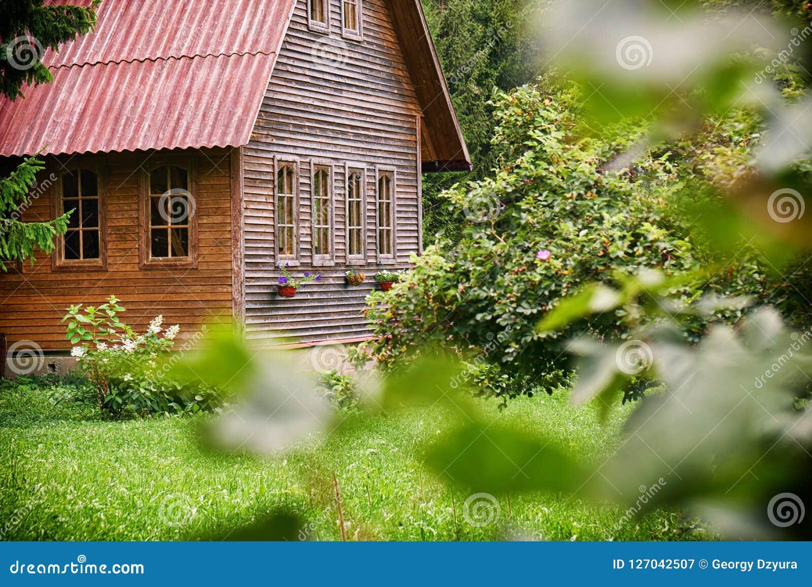 Casette Russe Di Campagna casa di legno suburbana con un tetto rosso nel giardino