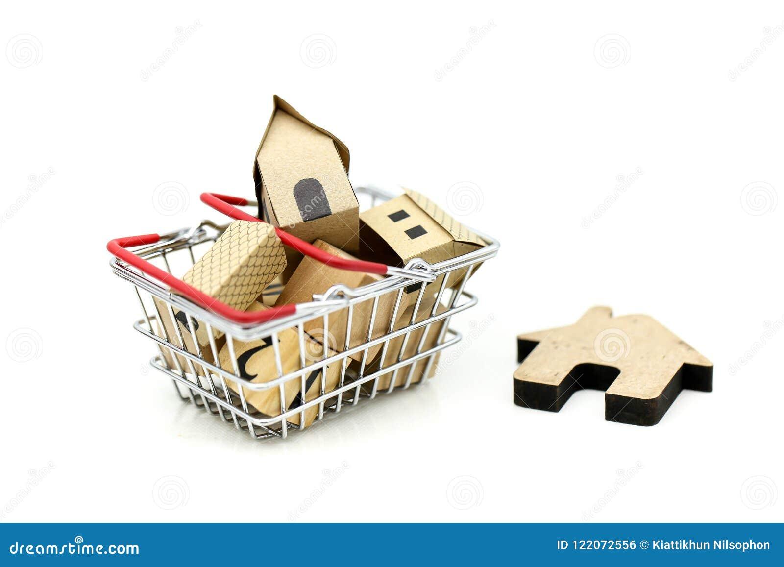 Casa di legno in un cestino della spesa, in un investimento della proprietà ed in una casa