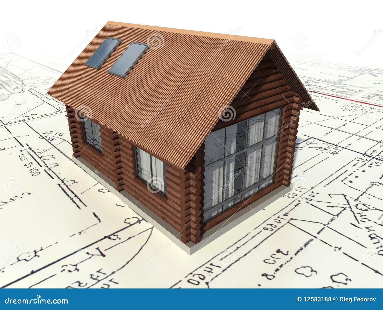 Progettazione Casa Programma : Casa di libro macchina di legno sul progetto pilota illustrazione