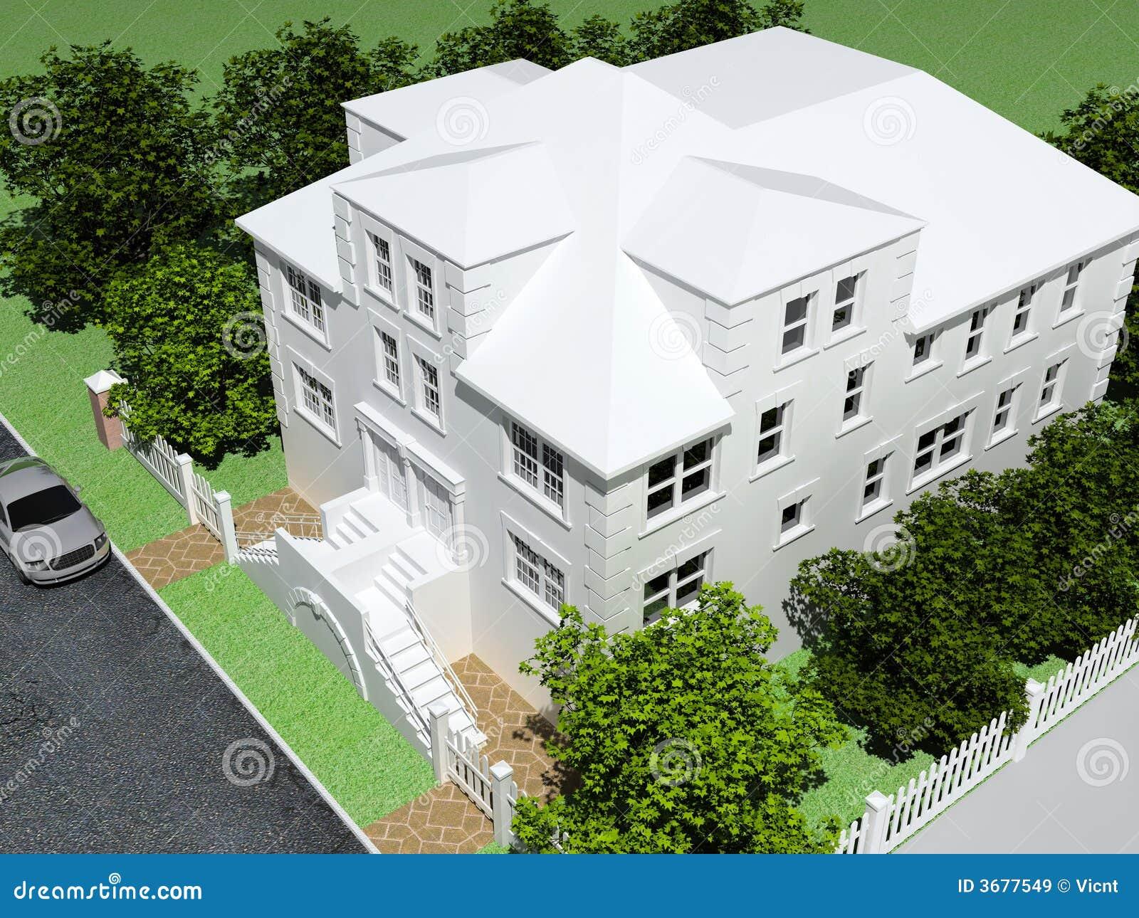 Download Casa di lusso moderna illustrazione di stock. Illustrazione di esterno - 3677549