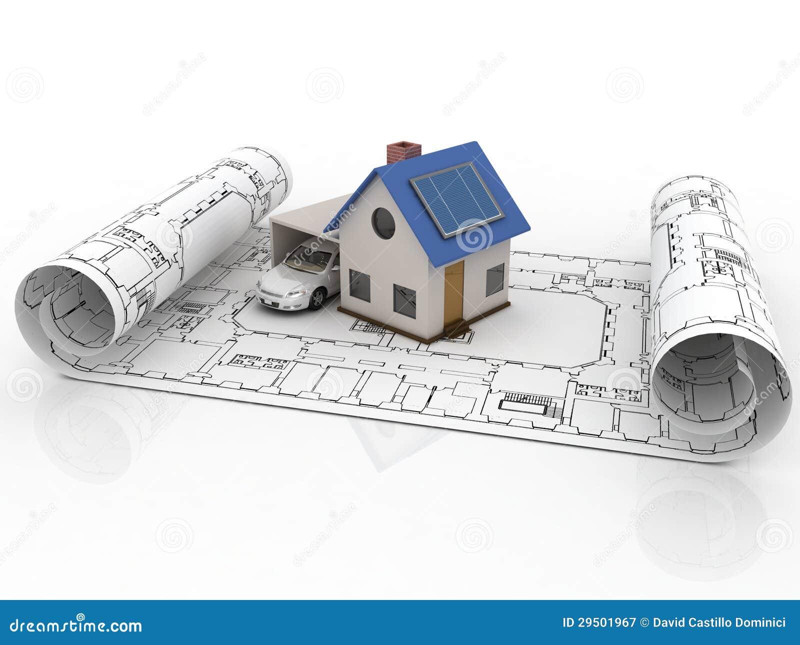 Casa di modello di architettura con il garage for Modello di casa