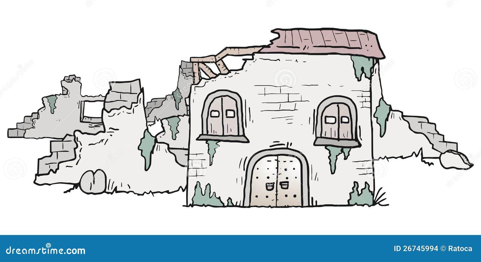Casa di rovine illustrazione vettoriale illustrazione di for Disegno della casa
